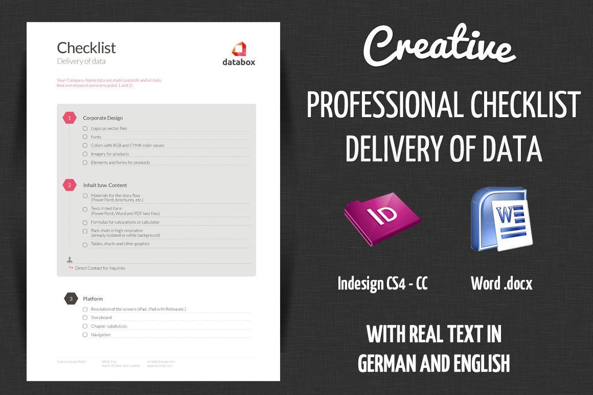 Checklist Delivery Creative Data Indesign Templates Adobe