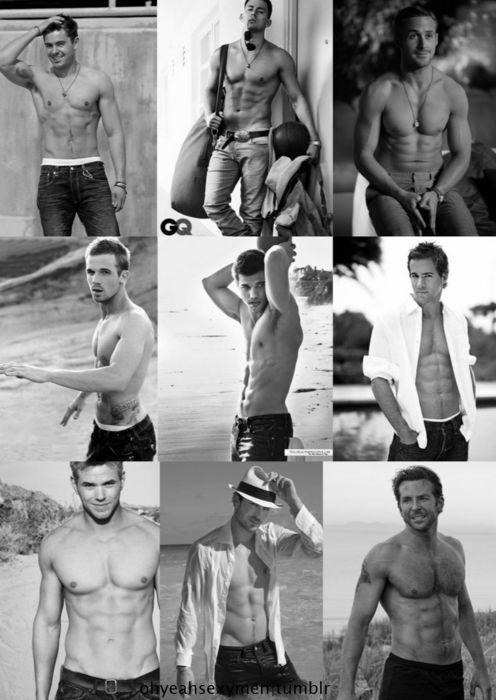 9 Sexiest Men Shirtless  Zac Efron  Channing Tatum  Ryan Gosling  Cam Gigandet  Taylor Lautner  Ryan Reynolds  Kellan Lutz  Ian Somerhalder  Bradley Cooper.