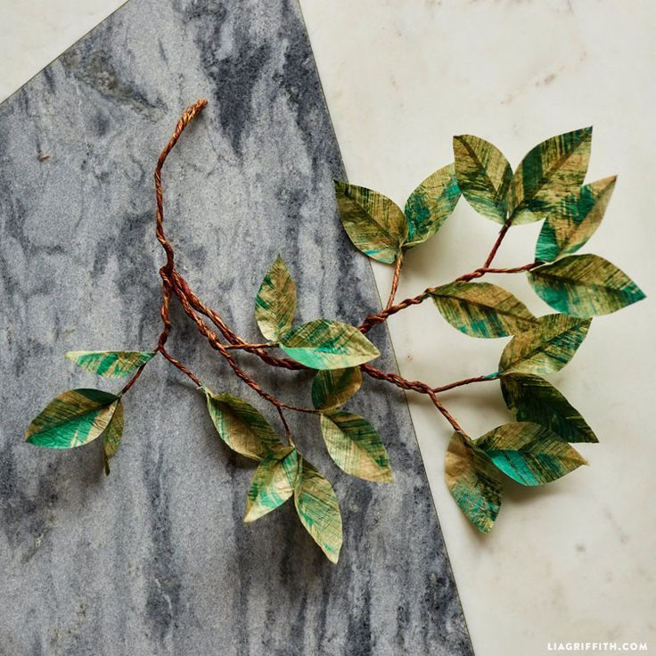Painted #TissuePaper leaves at www.LiaGriffith.com