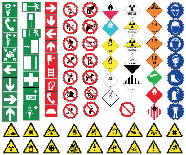 Health And Safety Signs Free Vector Health Safety Safety Signs Symbols Safety Posters