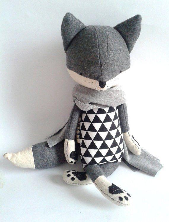 Image of Robin the fox, stuffed fox, stuffed handmade toy, woodland animals #handmadetoys