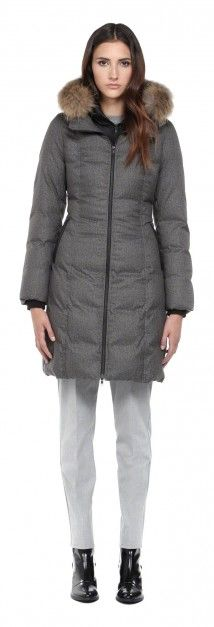 DELPHIE GREY WINTER DOWN COAT WITH FUR HOOD