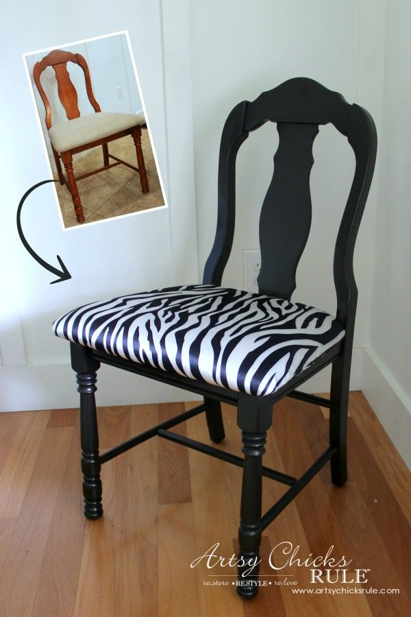 Zebra Chair Makeover (Animal Theme)  - BEFORE and AFTER - $5 dollar thrifty makeover - artsychicksrule