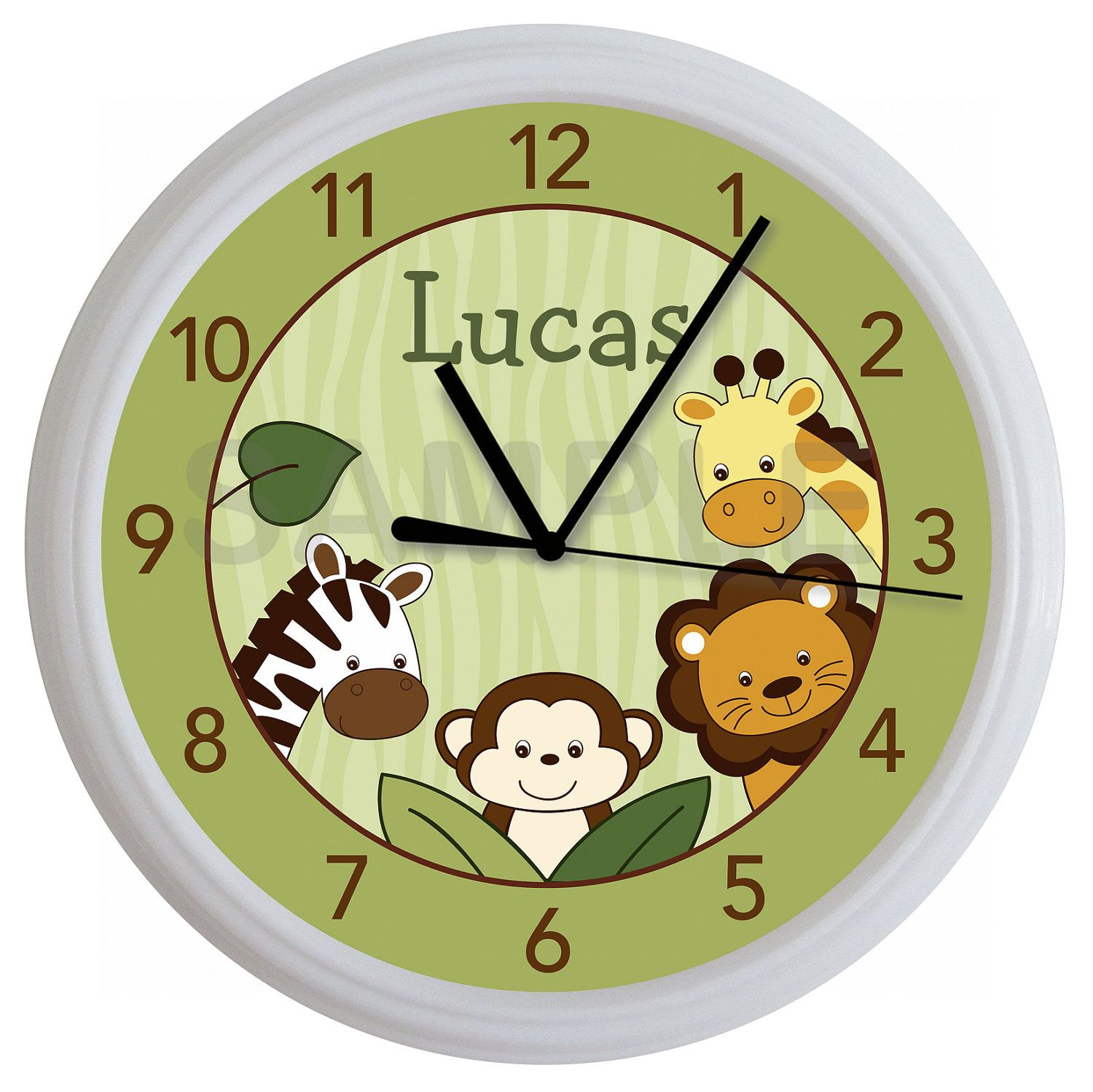 Safari Jungle Animal Personalized Nursery Wall Clock 16 99 Via Etsy Relojes De Pared Paredes Creativas Paredes Rusticas