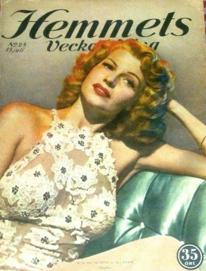 Rita Hayworth on the cover of Hemmets Veckotidning magazine, 15 July, 1949, Sweden. Cover photo of Rita in publicity for You Were Never Lovelier, 1942.
