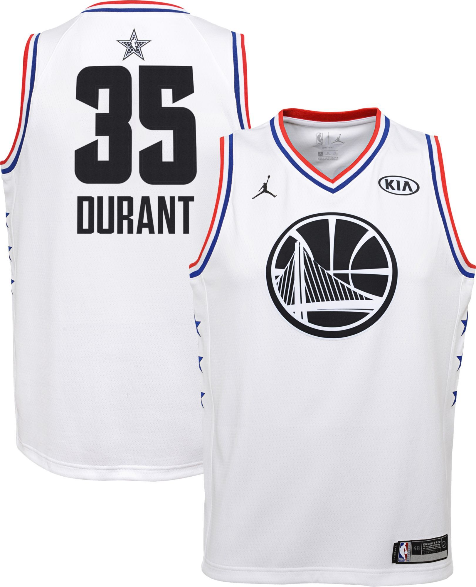 9bc3adc0b85 Jordan Youth 2019 NBA All-Star Game Kevin Durant White Dri-FIT Swingman  Jersey