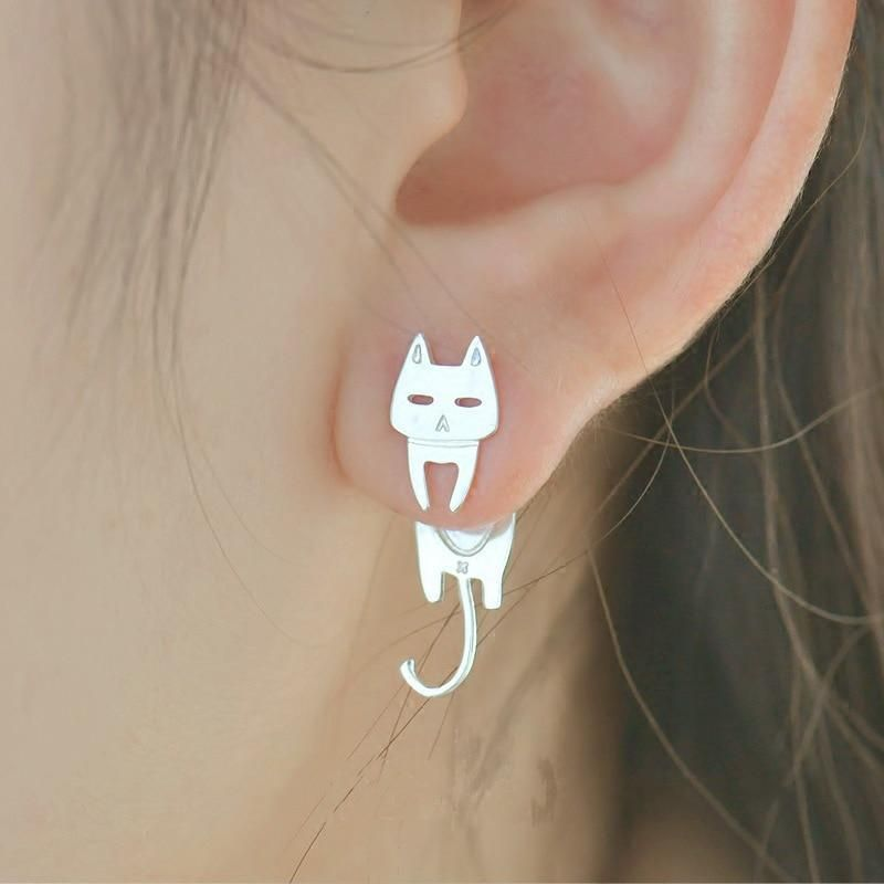 Cat and Fish Earrings is part of Sterling silver cat, Drop earrings, Silver cat, Earrings, Stud earrings, 925 sterling silver - As a true cat lover, you are always thinking about your cat! While you're at work or with your friends, you are probably thinking what is your cat doing with fish  But who cares, right  You're proud t