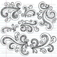 simple doodle ideas sketchy doodle swirls vector design elements stock vector blue67
