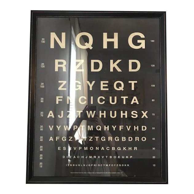 NEW Restoration Hardware Antique Vintage Eye Chart Art Frame Glass $340 USA MADE