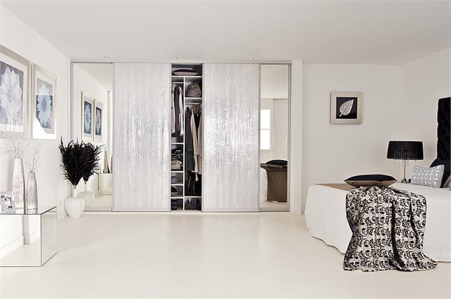 Sliderobes Fitted Sliding Door Wardrobe In Silver Wood/mirror