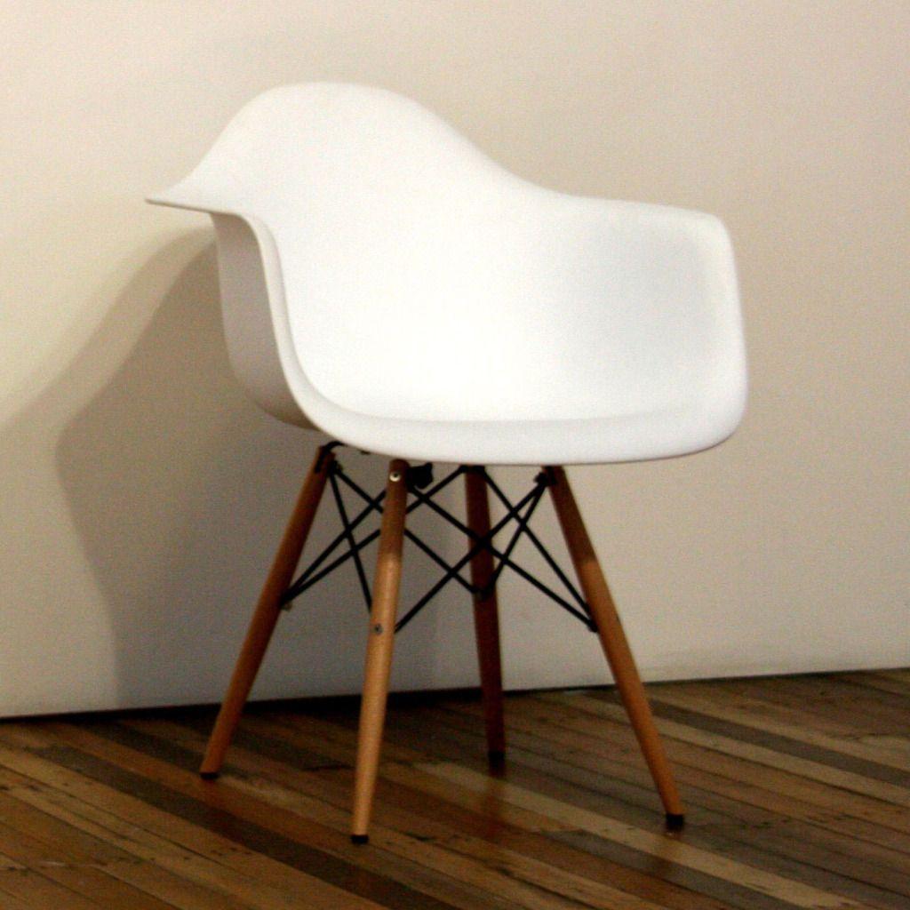 Eames Wire Wood Leg Arm Chair Eiffel White Plastic Shell Studio Dining Lounge