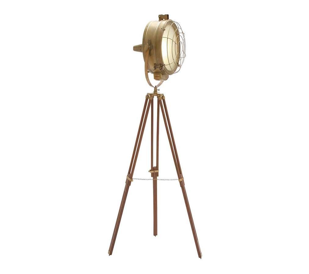 Brass Tripod Studio Spotlight Floor Lamp With Protective Net