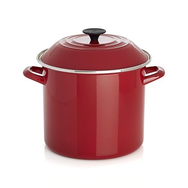 Le Creuset 10 Qt Red Enamel Stock Pot With Lid Crate And