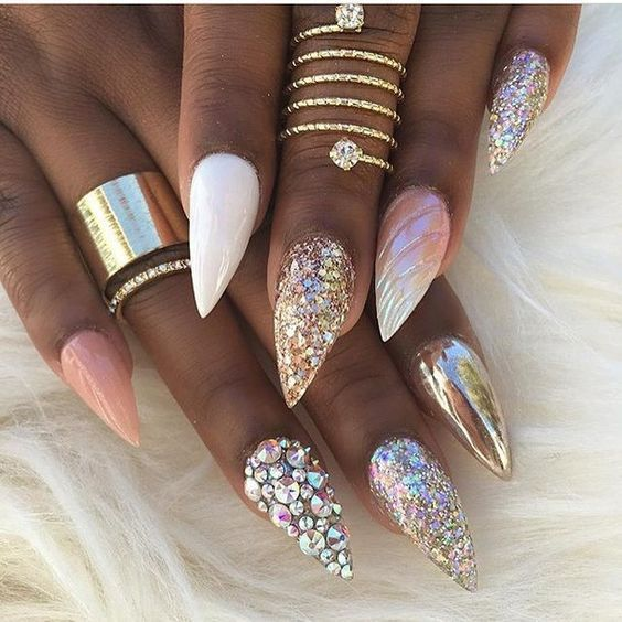 stiletto nail art designs | #diamonds | #jewel | gems | #rhinestones ...