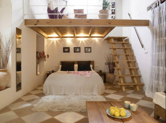 Captivant Mezzanine Chambre, Chambre à Coucher De Deux Niveaux, Table Rectangulaire  En Bois