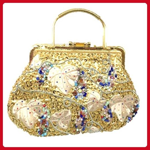 Womens Vintage Snap Closure Bead Satin Embrodiary Evening Bag Clutch Purse (Gold) - Evening bags (*Amazon Partner-Link)