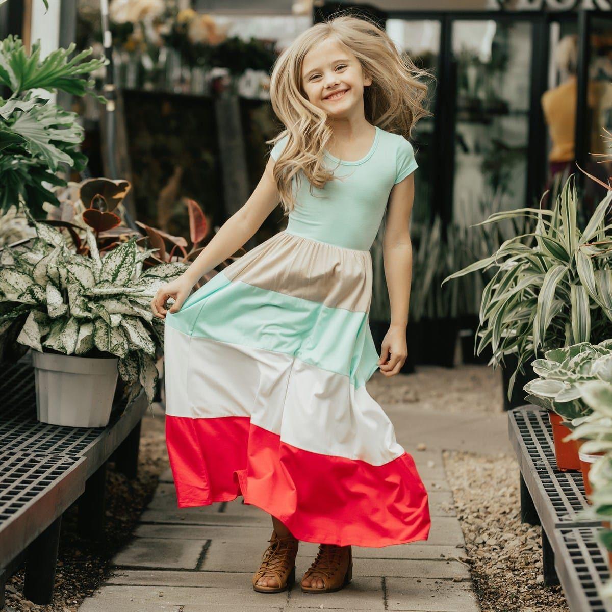Cap sleeve colorblock maxi dress kids s and kids wear