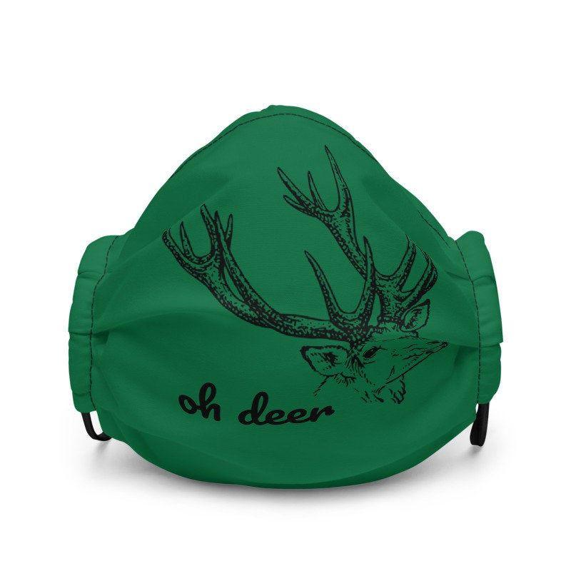Oh Deer Face Mask | Green Reindeer Christmas Facem