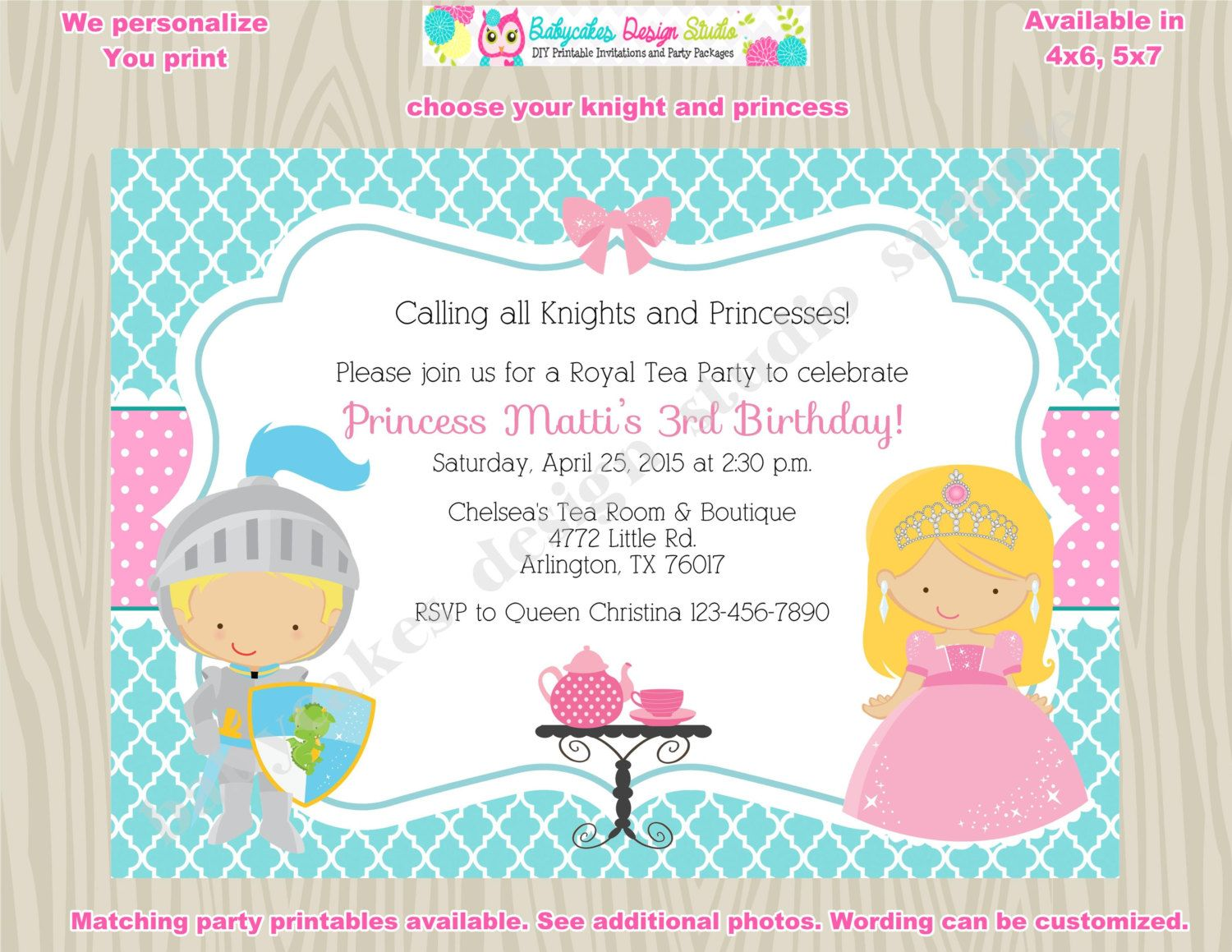 knights and princess tea party invitation Royal Tea Party Birthday ...