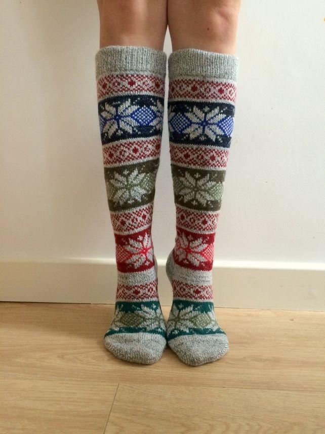 Long Knee length Wool Socks Fair isle, Christmas Star, Nordic ...