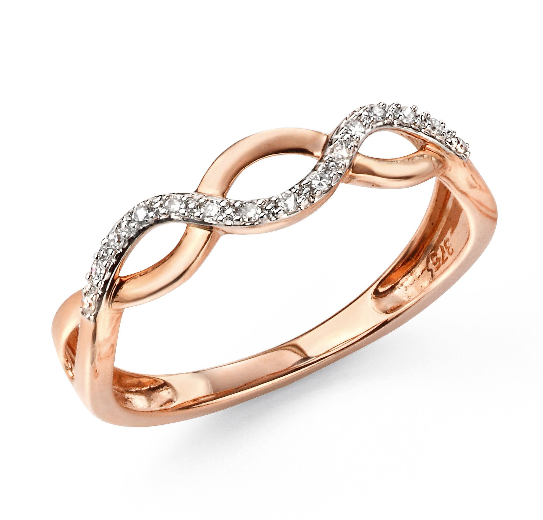 9ct Rose Gold Elements Diamond Entwined Ring