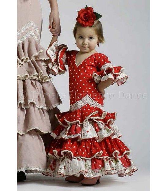 082f56cb7 trajes de flamenca 2016 - Roal - Picara niña rojo lunares blancos ...