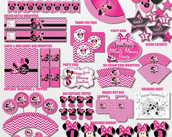 Pink Polka Dot and Chalkboard Minnie Mouse Birthday Party