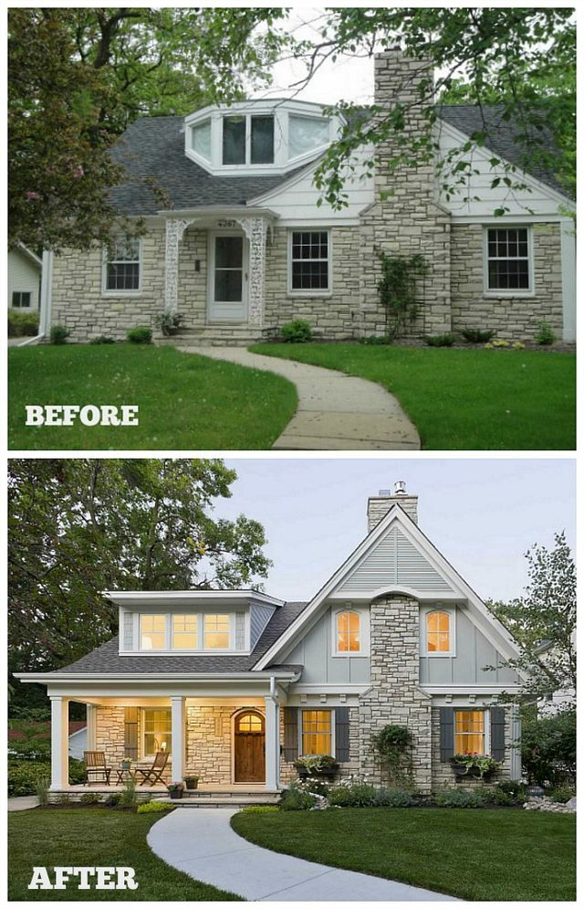 Before After Updating The Exterior Of A Small Stone House