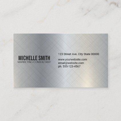 Simple Minimal Metallic Silver Texture Background Business Card Zazzle Com Textured Background Colorful Business Card Elegant Business Cards