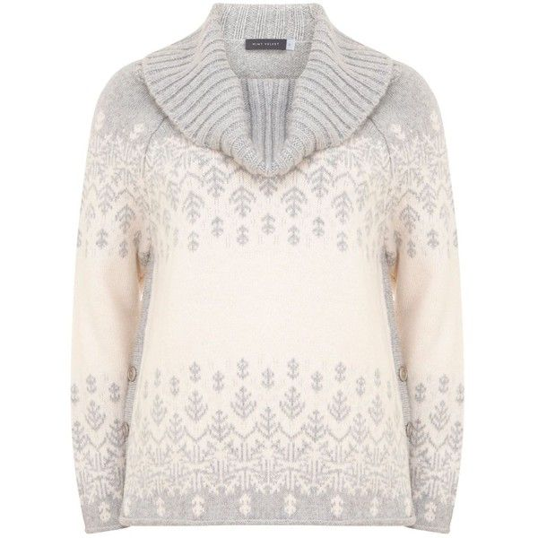Mint Velvet Grey & Cream Ski Knit ($135) ❤ liked on Polyvore featuring tops, sweaters, women, chunky grey sweater, grey knit sweater, gray cowl neck sweater, cream sweater and knit sweater