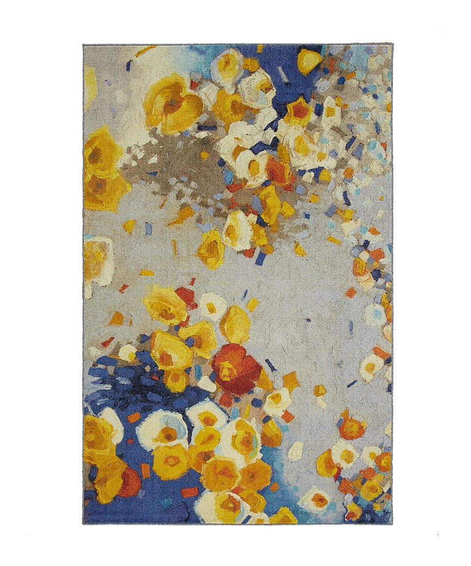 Take A Look At This Yellow Floral Winds Prismatic Rug