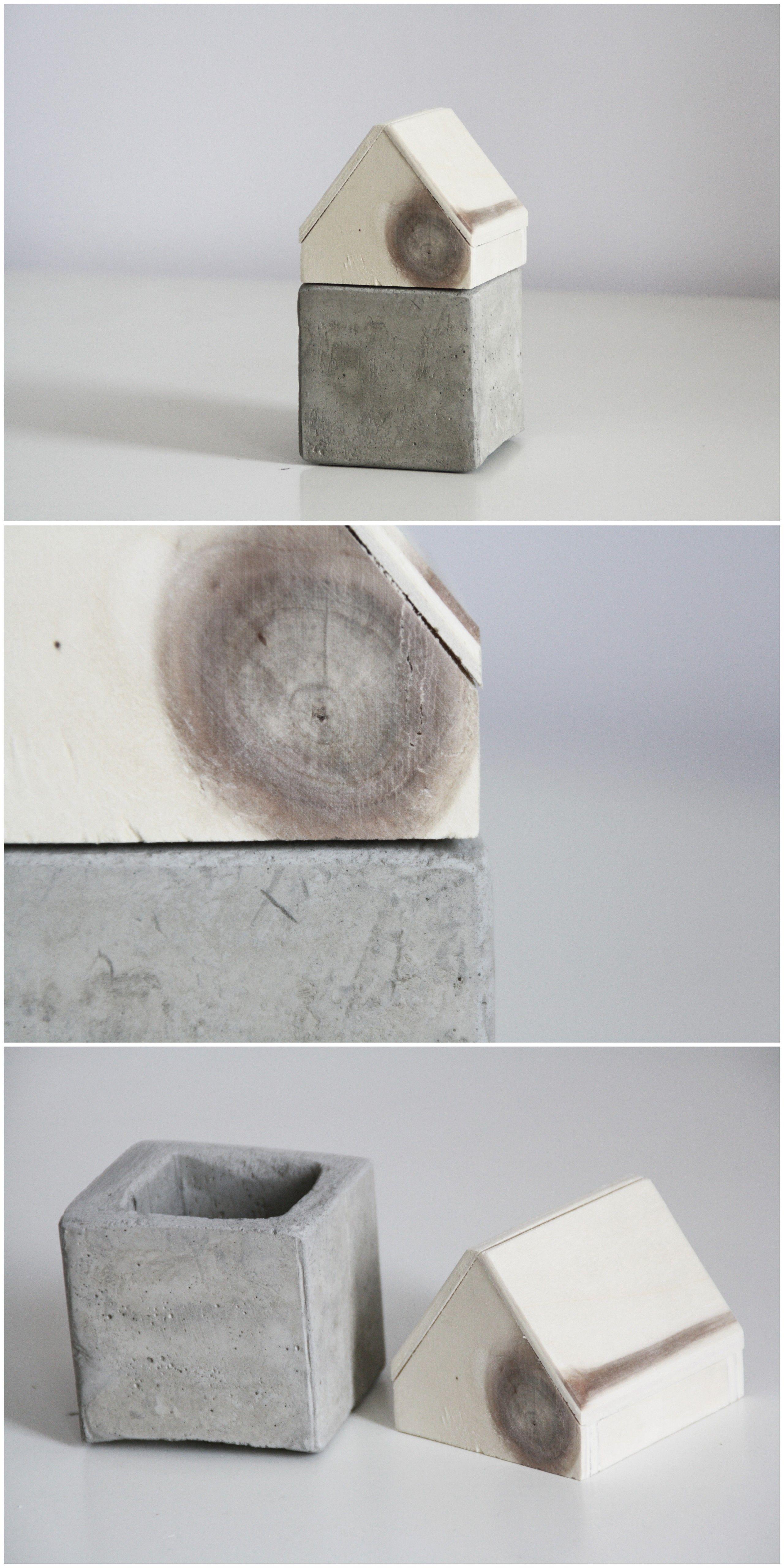 DIY Holz Beton Haus Als Aufbewahrung | Do It Yourself Storage | Deko |  Basteln |
