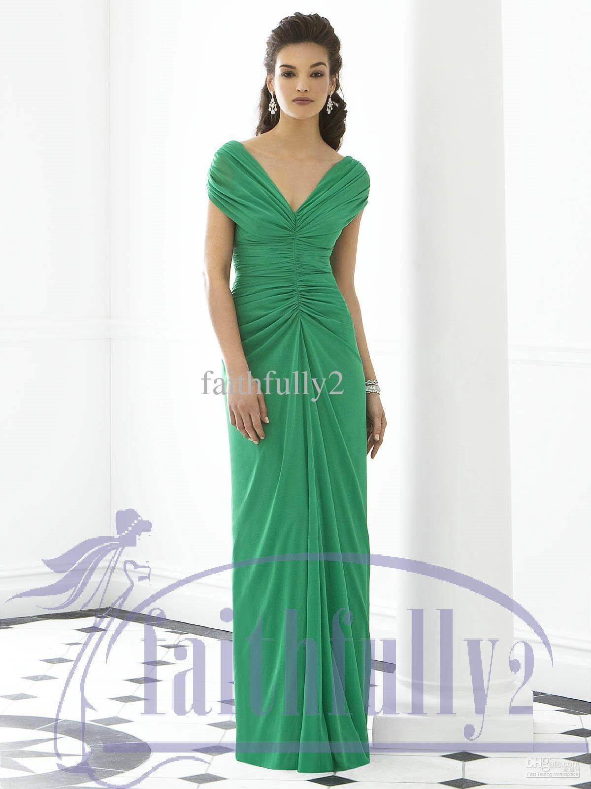 Long dark green dress  Sizes Available Shamrock Bridesmaids Dress Sheath Cap Sleeves V Neck