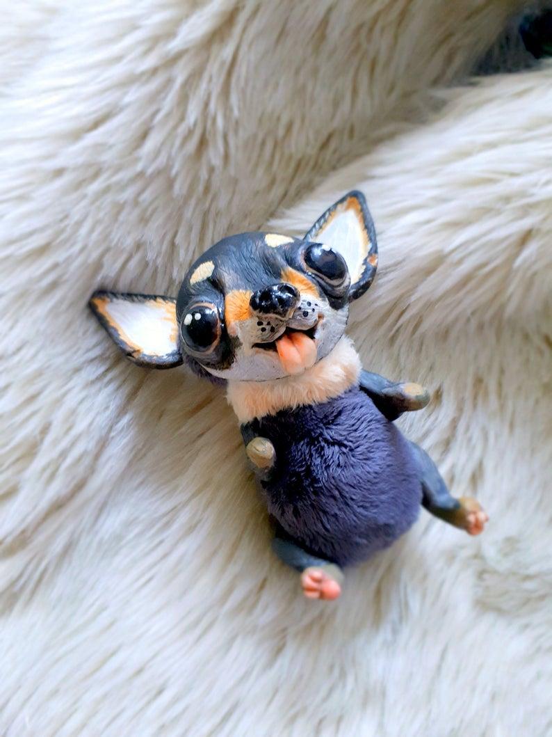 Chihuahua puppy, Realistic Chihuahua toy, Handmade Plush