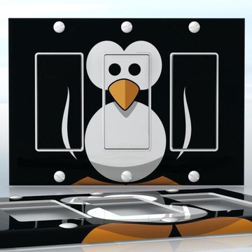 DIY Do It Yourself Home Decor - Easy to apply wall plate wraps | Penguin Baby  Cutie in black  wallplate skin sticker for 3 Gang Decora LightSwitch | On SALE now only $5.95