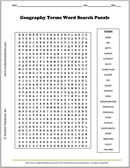 World Geography Vocabulary Word Search by Teacher! Teacher! | TpT