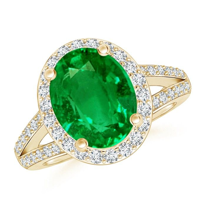 Angara Oval Emerald Split Shank Ring in 14k Yellow Gold IH69HWG0