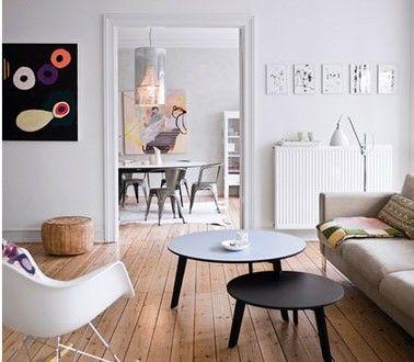 Salon salle à manger déco scandinave fauteuil à bascule chaise Tolix - Decoration Salle Salon Maison