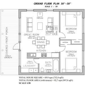 24x32 House 1 Bedroom 1 Bath 768 sq ft PDF Floor Plan Instant Download Model 1D