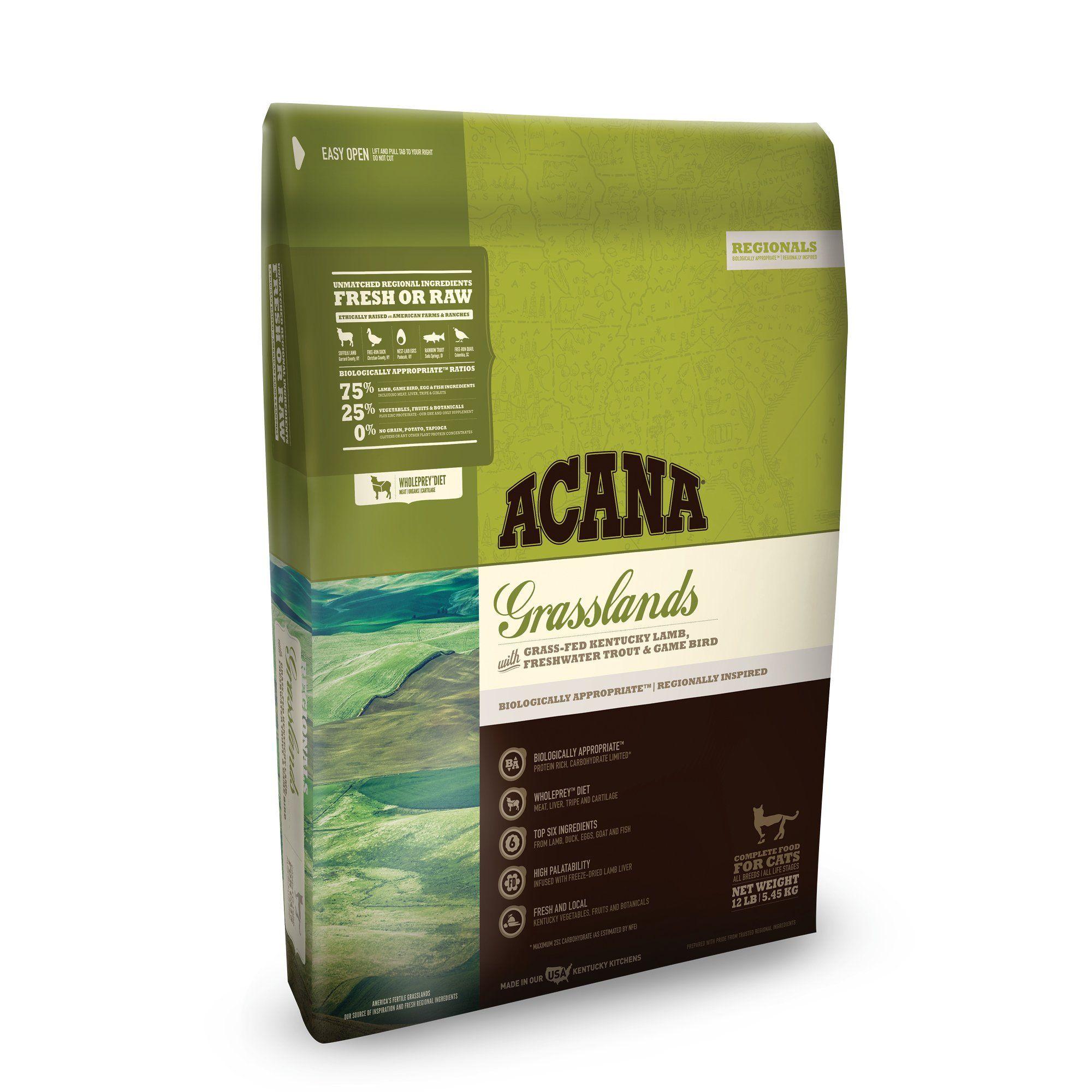 Acana Grasslands Dry Cat Food 12 Lbs Dry Cat Food Cat Food