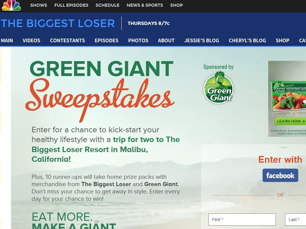 Enter the Green Giant Sweepstakes for a chance to win an 8-day/7-night trip for two to the Biggest Loser Resort in Malibu, California!