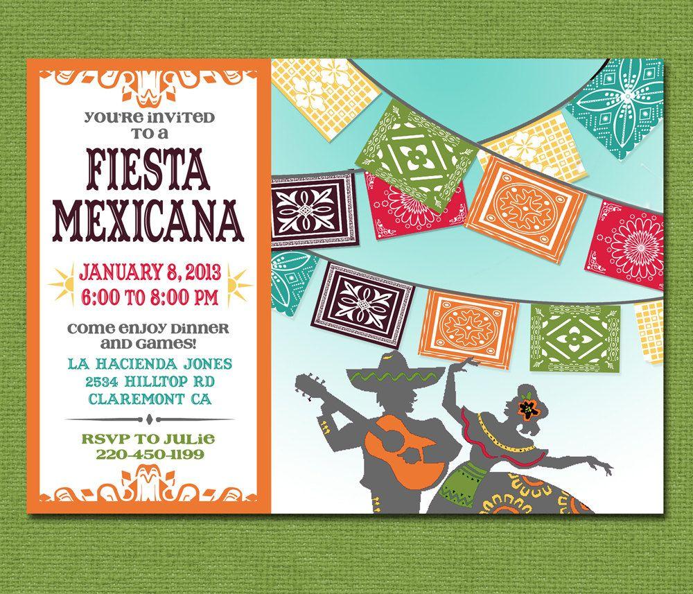 Print Yourself Mexican Fiesta Invitation, Custom Printable Party ...
