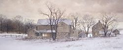 Evening Chores, winter landscape by Ray Hendershot.