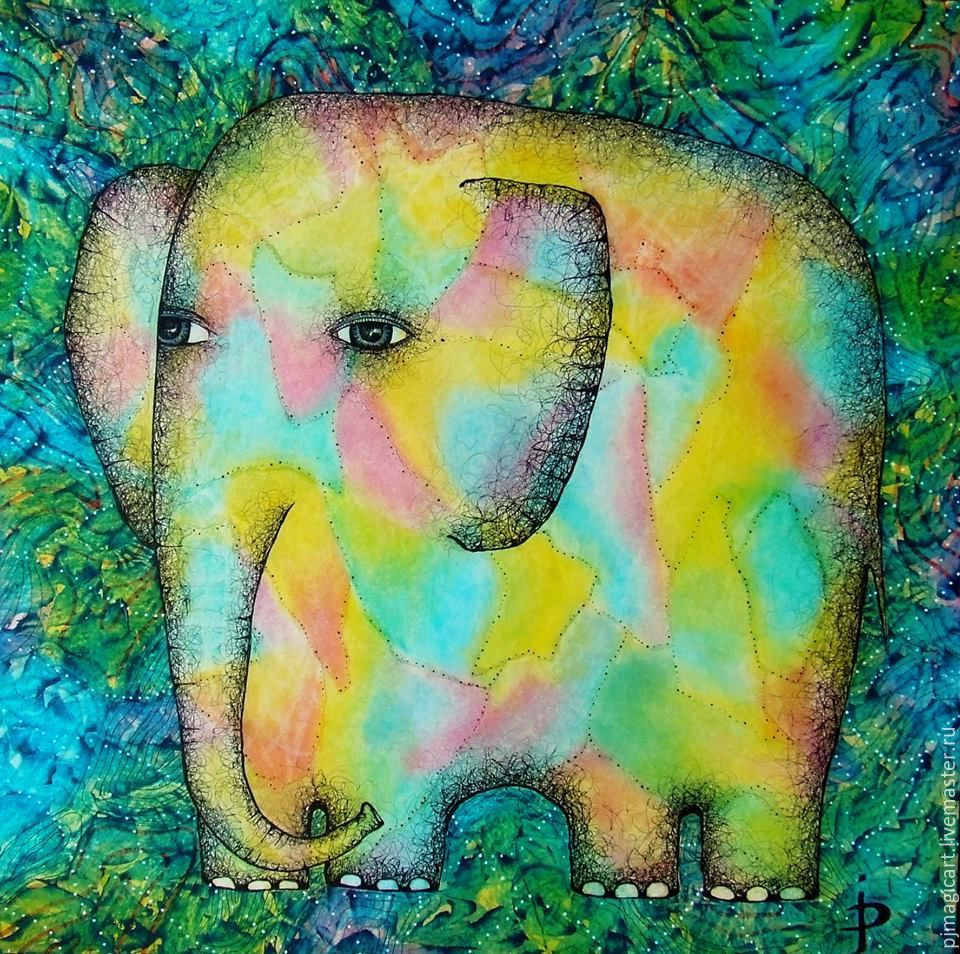 Acrylic painting rainbow elephant for Nice acrylic paintings