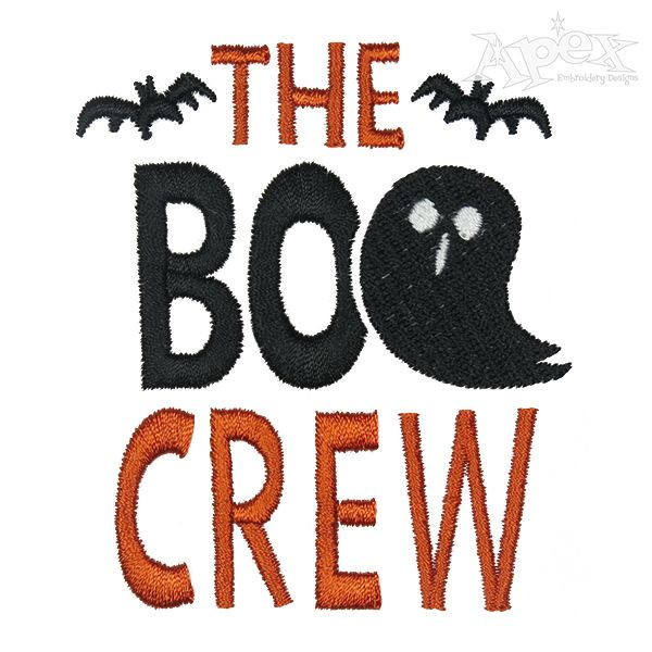 The Boo Crew Embroidery Design Halloween Embroidery Designs