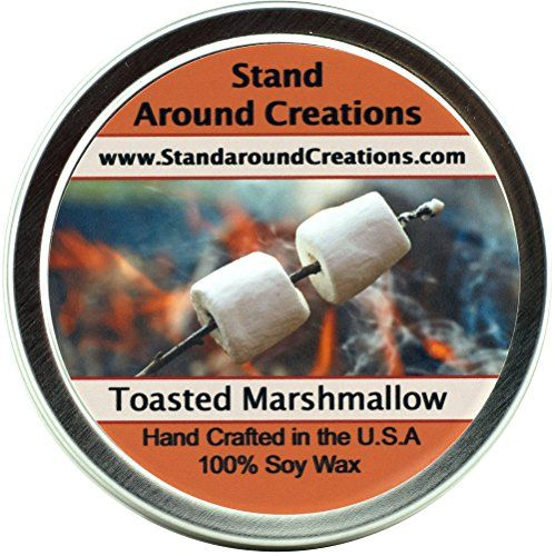 Premium 100 All Natural Soy Wax Aromatherapy Candle  8oz Tin  Scent Toasted Marshmallow A fragrance so true to its name Imagine a marshmallow on a stick just slightly toasted by the fire