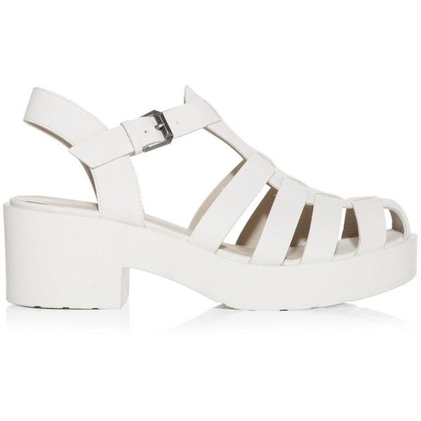 5ff9d9291110a3 White Caged Chunky Block Heel Sandals (€14) ❤ liked on Polyvore featuring  shoes