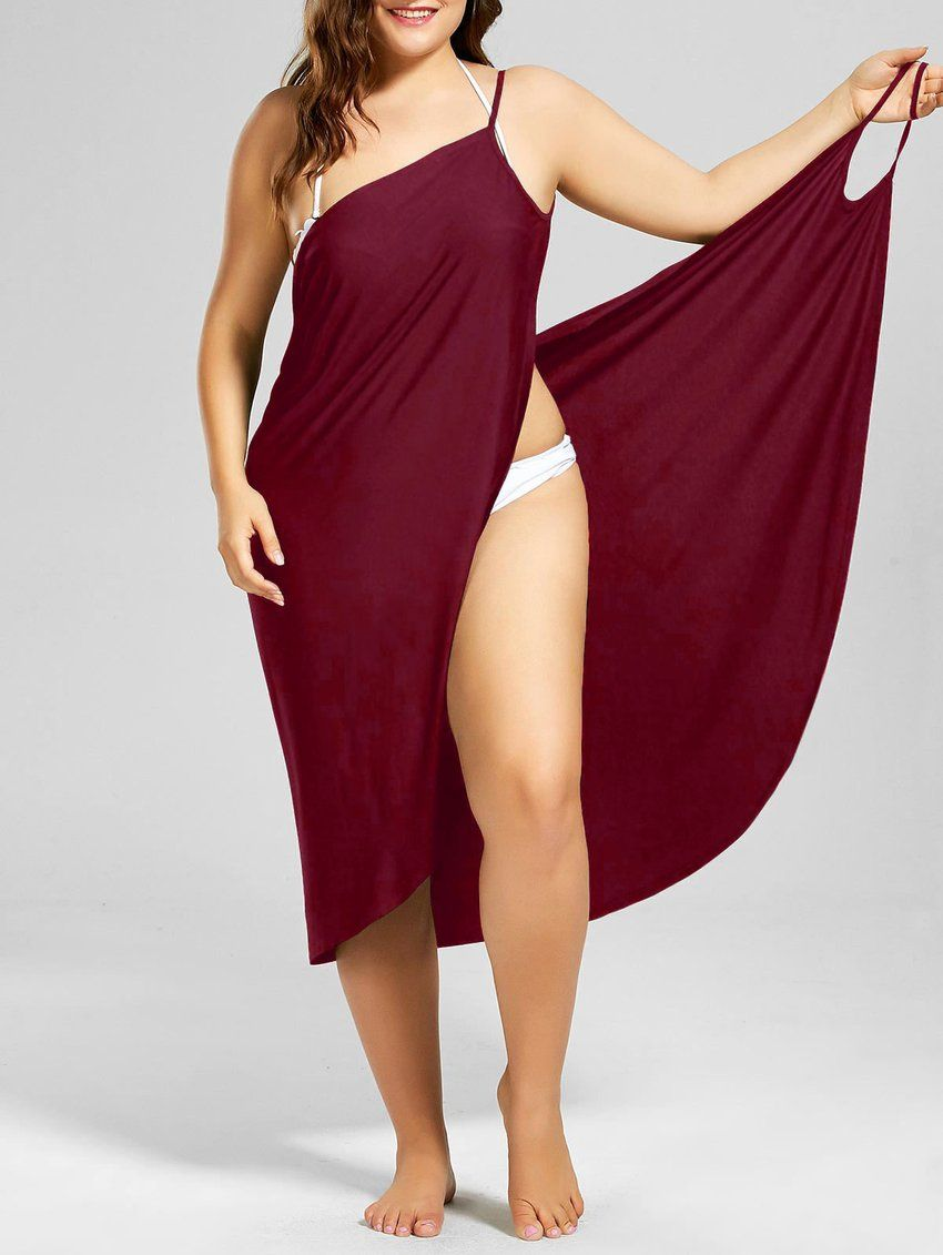 f582122939 ZAFUL Plus Size Beach Cover Up Wrap Dress Bikini Swimsuit Bathing Suit  Cover Ups Robe De