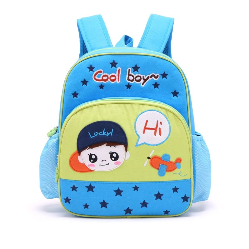 4afb2f699f03 Personalized Cute Cartoon Boys Face with Star Plane Monogrammed Toddler  Book Bag Blue Yellow Cotton Stylish