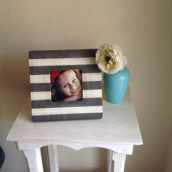 Grey and White Stripe Picture Frame by StellabytheSea on Etsy, $15.00
